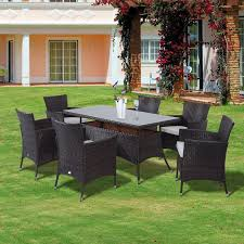 Garden Sofa Dining Set Outsunny Rattan Garden Furniture Dining Set Rectangular Table 6