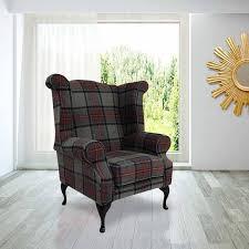 Check Armchair Chesterfield Edward Wool Tweed Wing Chair Designersofas4u