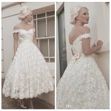 50 s style wedding dresses vintage 50 s lace chiffon tea length wedding dress wedding