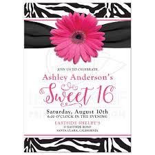 chic sweet 16 birthday invitation pink daisy black white