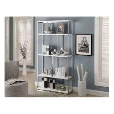 amazon com monarch chrome metal bookcase 72 inch glossy white