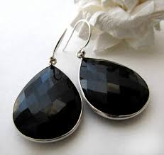 black dangle earrings large jet black dangle earrings black gemstone bezel black onyx