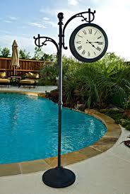 Outdoor Pedestal Clock Thermometer Backyard Creations Outdoor Pedestal Clock Analog Thermometer At