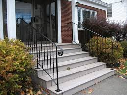 appealing black iron railings for white wooden outdoor stairs also
