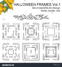 vector set black line halloween frames stock vector 487200658