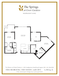 den floor plan senior apartment floor plans the springs at greer gardens