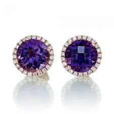 purple stud earrings purple amethyst earrings diamond halo stud checkerboard 18k gold