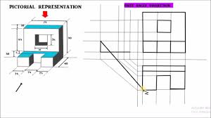 orthographic projection problem 8 first angle projection hindi