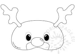 felt reindeer mask rudolph template coloring page