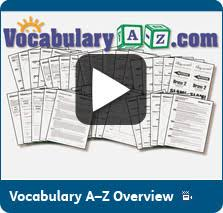vocabulary a z vocabulary lists vocabulary lesson plans