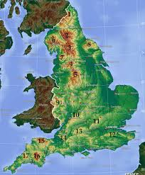 Map England by Mountains And Hills Of England Wikipedia