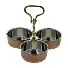 3 fr cote cuisine ensemble de 3 bols en cuivre et inox sur support cuisine pour