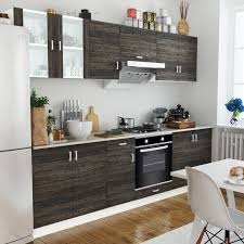 wood wenge look kitchen cabinet unit with built in oven 6