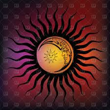 stylized sun moon and royalty free vector clip image