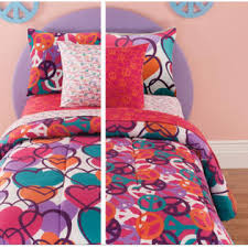 Girls Peace Sign Bedding by Kids Bedding Hearts U0026 Peace Signs Girls Reversible Full Size