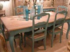 European Paint Finishes Teal Dining Table  Ladderback Chairs - Painted kitchen tables and chairs