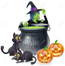 happy halloween free clip art halloween cartoon witch scene with a witch her black cats happy
