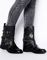 ankle high motorcycle boots mango stud strapped biker boots in black lyst