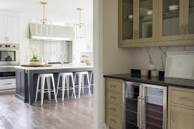 Taupe Cabinets Taupe Butlers Pantry With White Marble Slab Backsplash