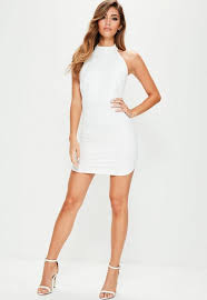 white bodycon dress white halterneck backless bodycon dress missguided