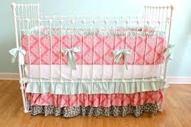 Aqua And Grey Crib Bedding Coral Crib Bedding Nursery Sets All Modern Home Designs