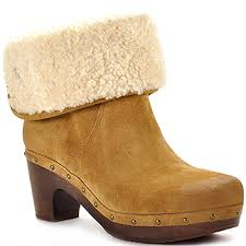 womens ugg lynnea boots ugg australia lynnea chestnut suede shearling clog bootie at