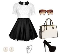 white and black dress with accessories combination combination