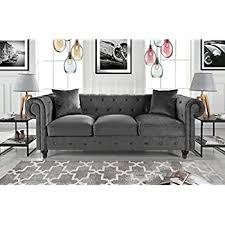 Chesterfield Velvet Sofa Divano Roma Furniture Velvet Scroll Arm Tufted Button