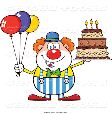 circus clipart of a happy chubby clown with colorful balloons and