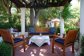 alfresco ideas patio mediterranean with hanging potted plant string