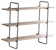 Small Wall Shelf Three Tiered Metal Tube Frame Wall Shelf With Wooden Shelves