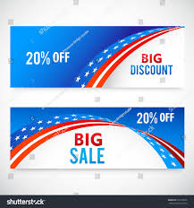 Big American Flags Header Banner United States America American Stock Vector