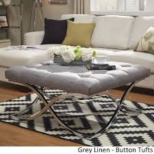 coffee table magnificent white tufted ottoman round leather