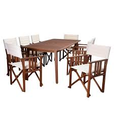 amazonia georgia 9 piece square patio dining set with off white