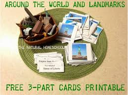 around the world and landmarks 3 part cards printable and lessons