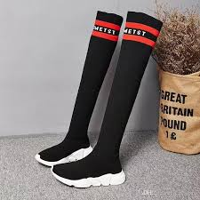 s boots autumn 2017 2017 fashion brand slim fit black sock boots flat knee boots