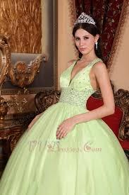 straps v neckline yellow green open back quinceanera dress