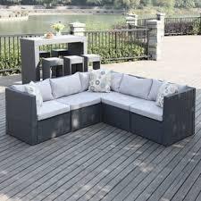 Wicker Indoor Sofa Handy Living Aldrich Grey Indoor Outdoor 5 Piece Sectional Set