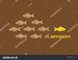 brown opposite color cartoon fish right yellow swimming opposite stock vector 271262540