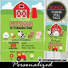 farm birthday invitation tractor barn personalized d3