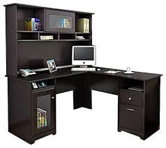 bush cabot l shape computer desk with hutch in espresso oak