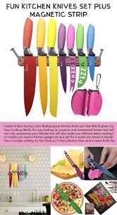 fiesta colored knife set with magnetic strip and sharpener to