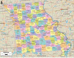 Political Map United States by Missouri Map Of Missouri And Missouri Counties And Road Details