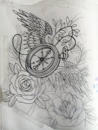 watercolor clock with gears tattoos on thigh in 2017 real photo