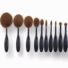 10pcsprofessional tooth brush set for make up oval makeup brushes