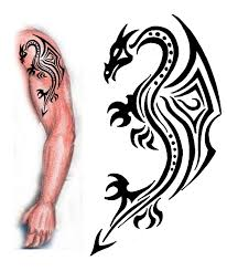 brilliant red and black tribal dragon tattoo design by devildarkhead