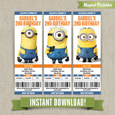despicable me minions birthday ticket invitations instant