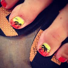 tropical sunset toe design nails by the haute spot pinterest