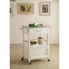 Storage Home by Linon Home Decor Mitchell White Kitchen Cart With Storage