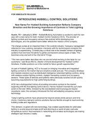 Hubbell Lighting Hubbell Control Solutions Press Releases